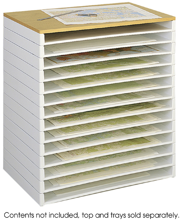Safco Giant Stack Tray for 30 x 42 Documents: White, Pack of 2