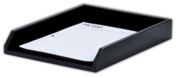 Dacasso Classic Black Leather Letter Front-Load Letter Size Tray: Black