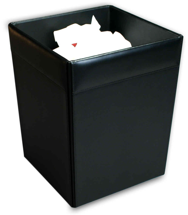 Dacasso Classic Black Leather Square Waste Basket