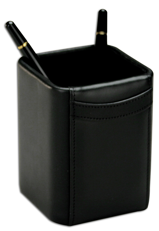 Dacasso Classic Black Leather Pencil Cup