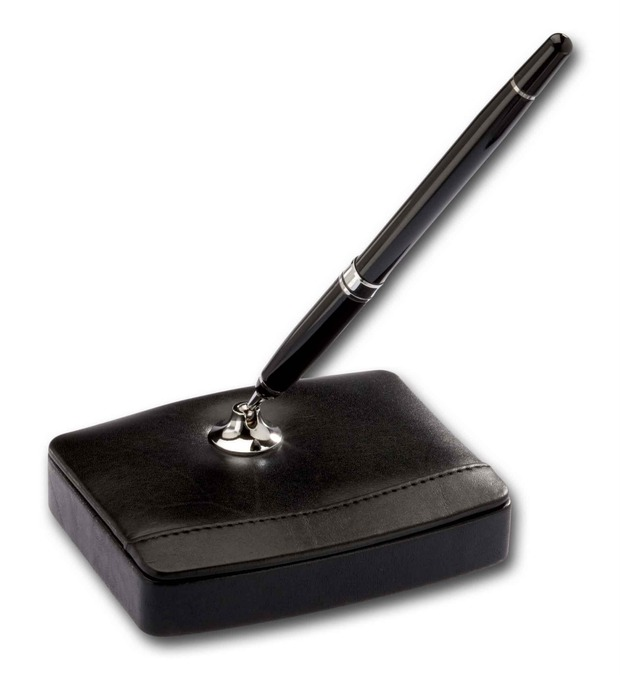 Dacasso Classic Black Leather Single Pen Stand with Silver Accents