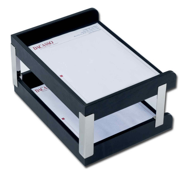 Dacasso Classic Black Leather Double Side-Load Letter Trays with Silver Posts