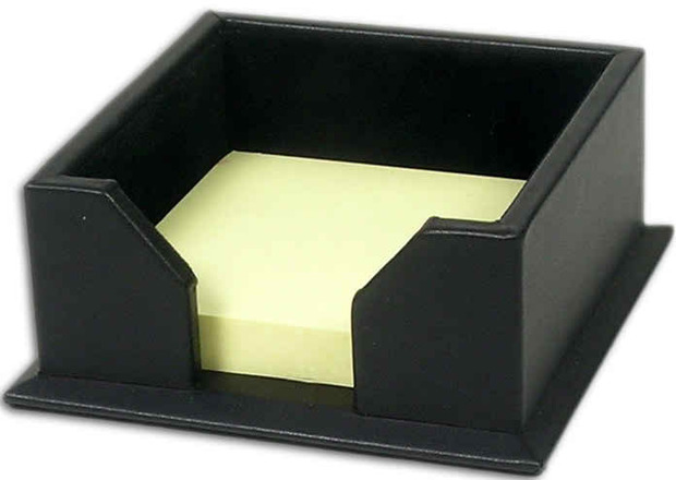 "Dacasso Classic Black Leather 3"" x 3"" Note Holder"