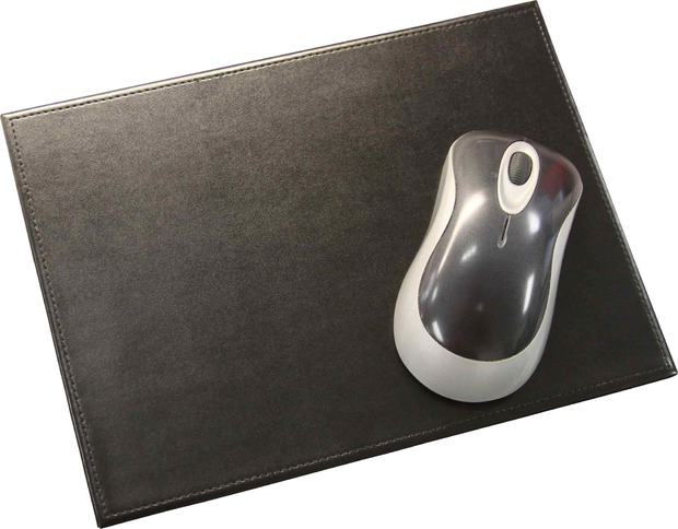 Dacasso Black Bonded Rectangular Leather Mouse Pad