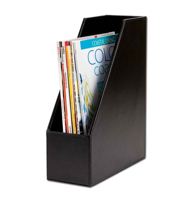 Dacasso Econo-Line Black Leather Magazine Rack