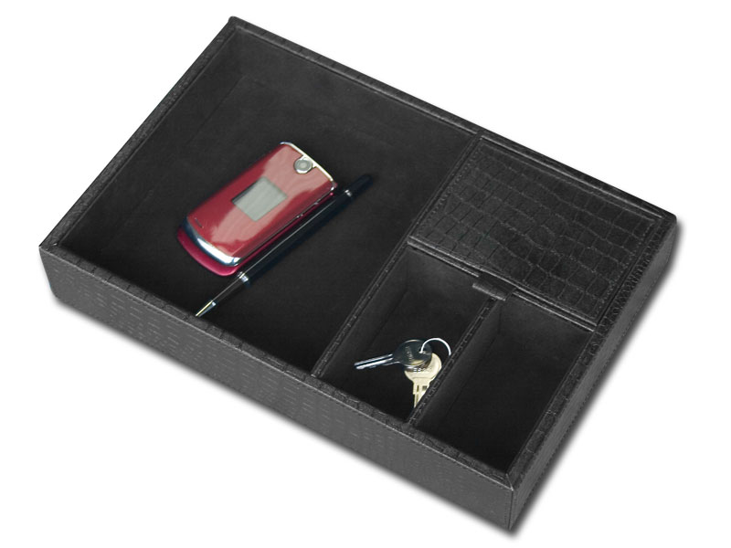 Dacasso Black Crocodile Embossed Standard Valet Tray