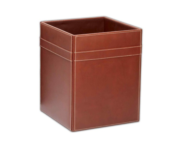 Dacasso Rustic Brown Leather Square Waste Basket