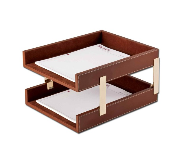 Dacasso Rustic Brown Leather Double Legal-Size Trays