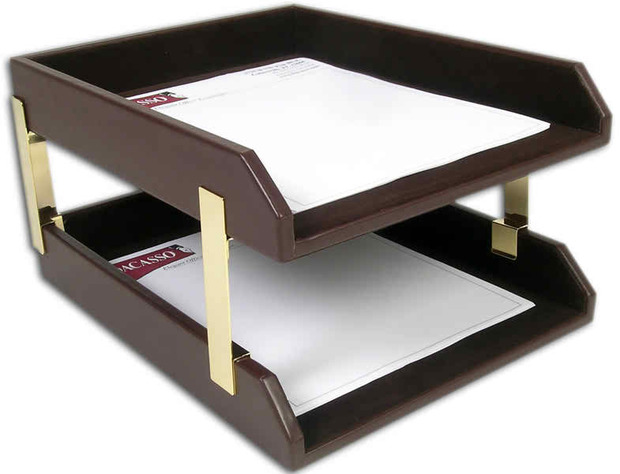 Dacasso Chocolate Brown Leather Double Letter Trays