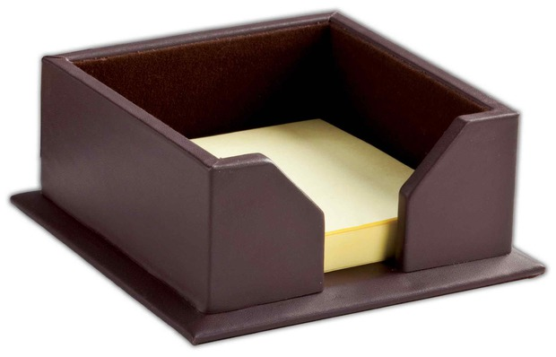 "Dacasso Chocolate Brown Leather 3"" x 3"" Sticky Note Holder"