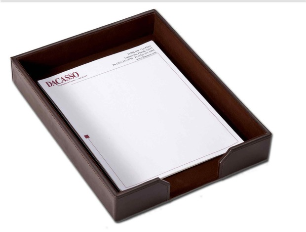 Dacasso Econo-Line Dark Brown Leather Letter Tray