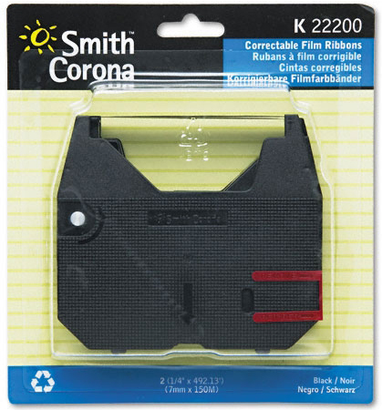 Smith Corona 'K' Series 2-Black Correct Ribbons: Pack of 2