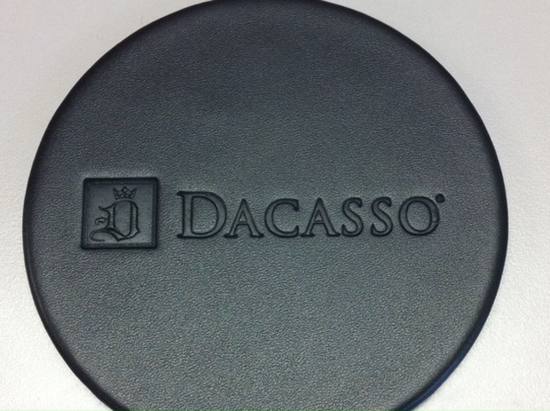 Dacasso Classic Black Leatherette Round Coaster