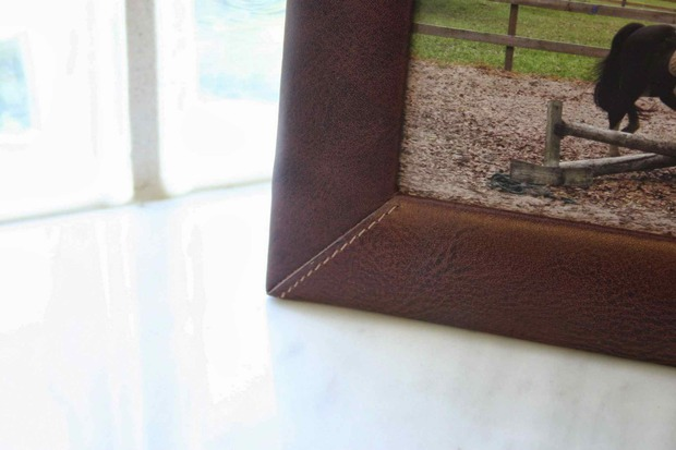 "Dacasso Mocha Leather 4"" x 6"" Picture Frame"
