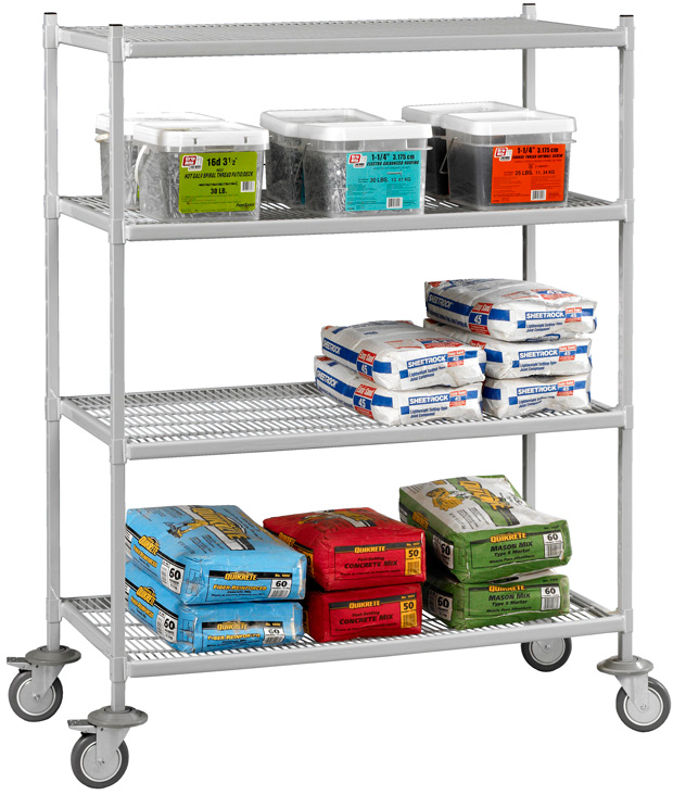 "Tennsco Epoxy Logic 4-Level Wire Cart: 42"" x 24"" x 68"""